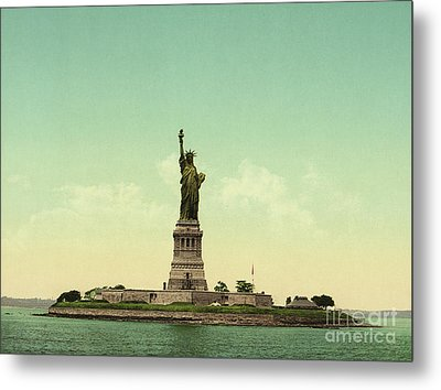Statue Of Liberty, New York Harbor Metal Print by Unknown