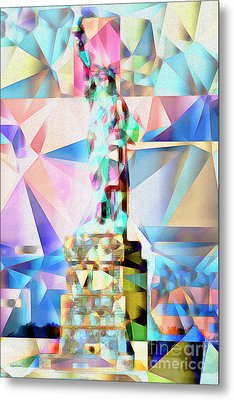 Metal Print featuring the photograph Statue Of Liberty New York In Abstract Cubism 20170327 by Wingsdomain Art and Photography