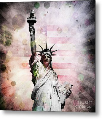Metal Print featuring the digital art Statue Of Liberty by Phil Perkins