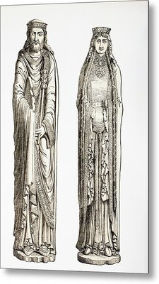 Statues Of King Clovis I And His Wife Metal Print