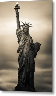 Statute Of Liberty Metal Print by Tony Castillo