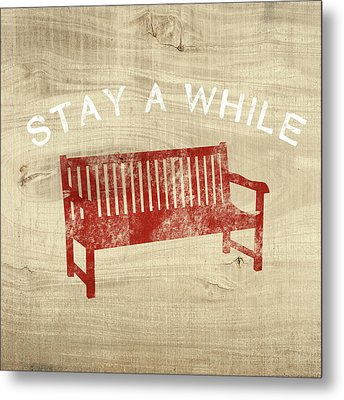 Stay A While- Art By Linda Woods Metal Print