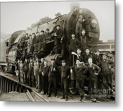 Steam Engine 351 On Turntable Coxton Yards Coxton Pennsylvania Early 1900s Metal Print