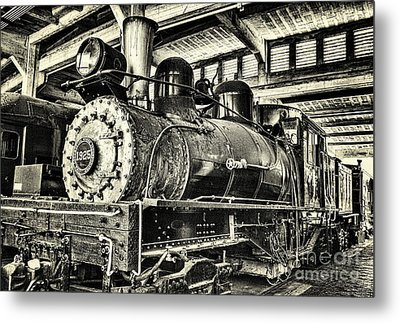 Steam Engine Train 1925 Lima Locomotive Bw Metal Print by Dan Carmichael