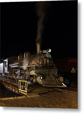 Locomotive And Coal Tender On A Turntable Of The Durango And Silverton Narrow Gauge Railroad Metal Print by Carol M Highsmith