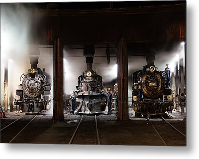 Steam Locomotives In The Roundhouse Of The Durango And Silverton Narrow Gauge Railroad In Durango Metal Print by Carol M Highsmith