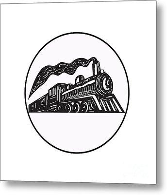Steam Train Locomotive Coming Up Circle Woodcut Metal Print by Aloysius Patrimonio