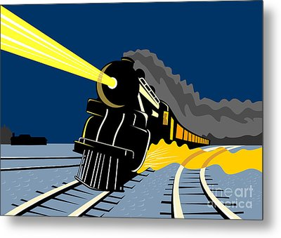 Steam Train Night Metal Print by Aloysius Patrimonio