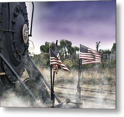 Steam Train Patriotic Metal Print by William Havle