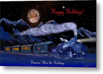 Steamin' Through The Holidays Christmas Card Metal Print