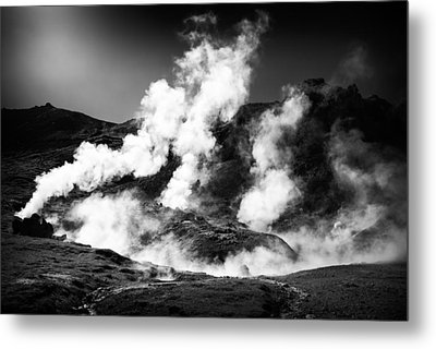 Metal Print featuring the photograph Steaming Iceland Black And White Landscape by Matthias Hauser