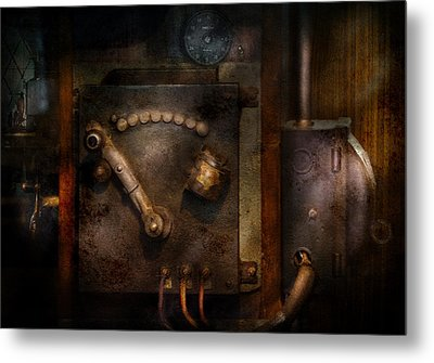 Steampunk - The Control Room  Metal Print by Mike Savad