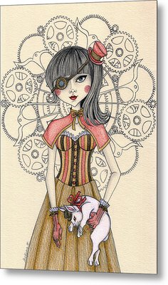 Steampunk Alice And The White Rabbit Metal Print