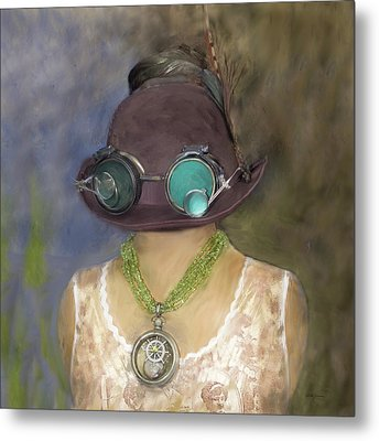 Steampunk Beauty With Hat And Goggles - Square Metal Print by Betty Denise