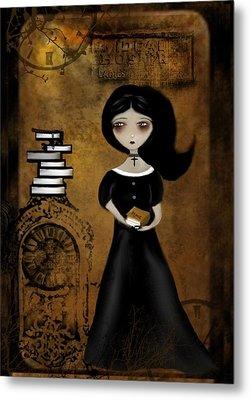 Steampunk Bibliophile Metal Print by Charlene Zatloukal