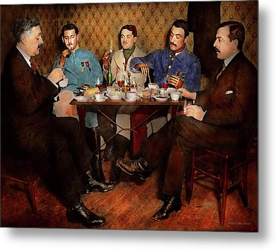 Metal Print featuring the photograph Steampunk - Bionic Three Having Tea 1917 by Mike Savad