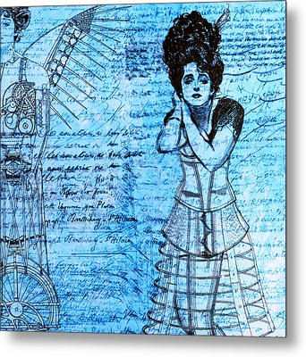 Steampunk Girls In Blues Metal Print