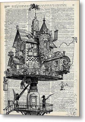 Steampunk House Metal Print