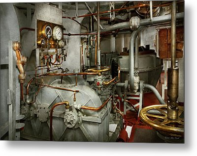 Metal Print featuring the photograph Steampunk - In The Engine Room by Mike Savad