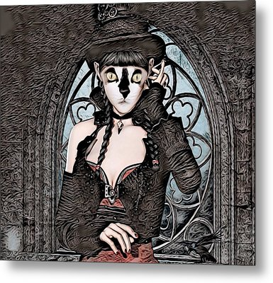 Steampunk Kitty By Artful Oasis Metal Print