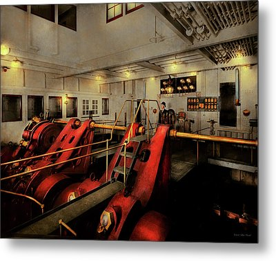 Metal Print featuring the photograph Steampunk - Man The Controls 1908 by Mike Savad