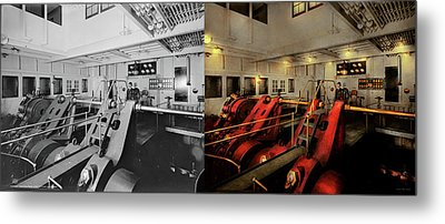 Metal Print featuring the photograph Steampunk - Man The Controls 1908 - Side By Side by Mike Savad