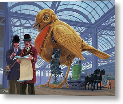 Metal Print featuring the digital art Steampunk Mechanical Robin Factory by Martin Davey