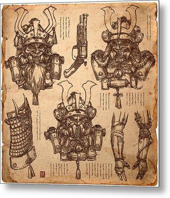 Steampunk Samurai Concept Metal Print by James Ng