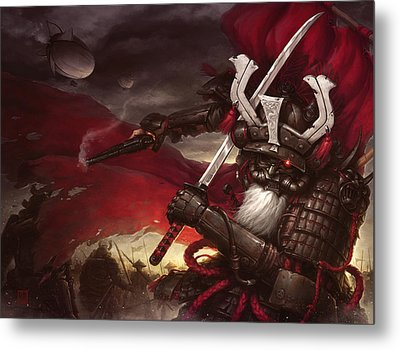 Steampunk Samurai Metal Print by James Ng