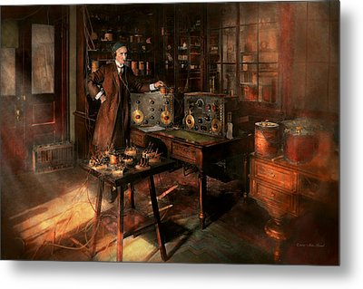 Steampunk - The Time Traveler 1920 Metal Print by Mike Savad