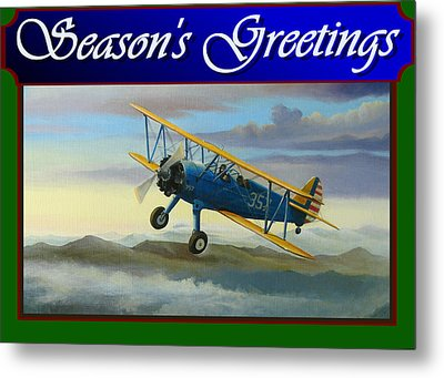 Stearman Christmas Card Metal Print by Stuart Swartz