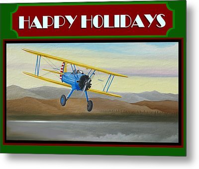 Stearman Morning Flight Christmas Card Metal Print by Stuart Swartz