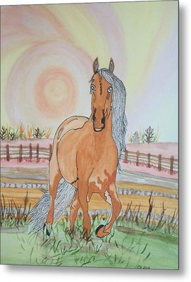 Metal Print featuring the painting Stech Of A Horse by Connie Valasco
