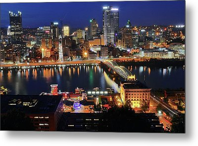 Steel City At Blue Hour Metal Print