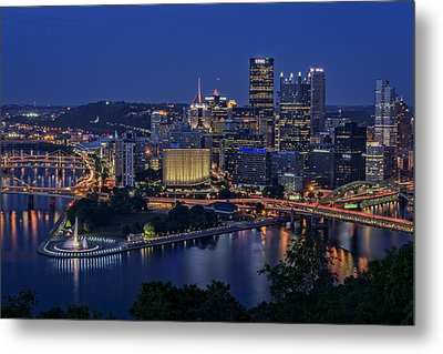 Steel City Glow Metal Print by Rick Berk