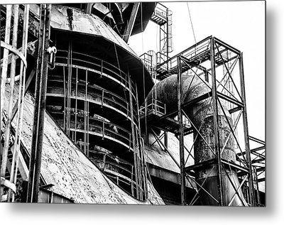 Steel Mill In Black And White - Bethlehem Metal Print by Bill Cannon