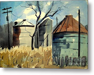 Metal Print featuring the painting Steel Silos In A Field Matted Glassed Framed by Charlie Spear