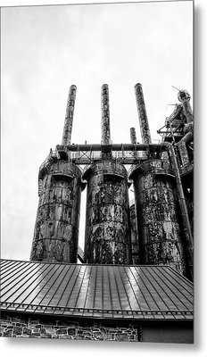 Steel Stacks - The Bethehem Steel Mill In Black And White Metal Print by Bill Cannon