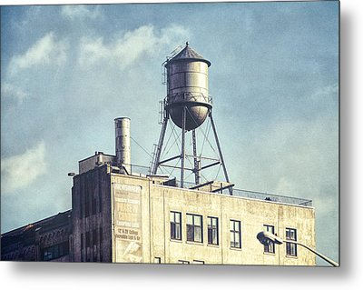 Steel Water Tower, Brooklyn New York Metal Print by Gary Heller
