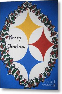 Steelers Christmas Card Metal Print by Jeffrey Koss