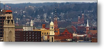 Metal Print featuring the photograph Steeples Of Dubuque by Jane Melgaard