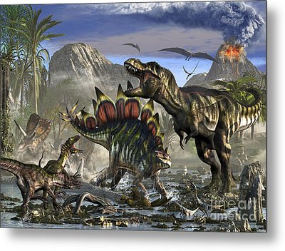 Stegosaurus Defending Himself Metal Print by Kurt Miller