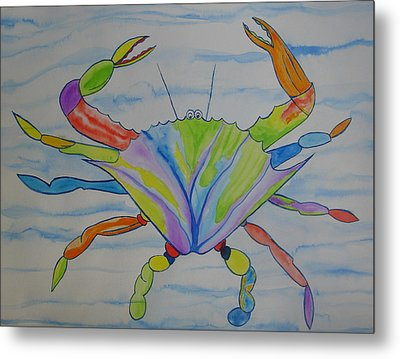 Metal Print featuring the painting Stella The Crab by Erika Swartzkopf