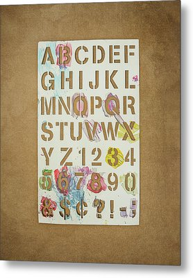 Stencil Alphabet Fun Metal Print by Scott Norris