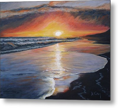 Metal Print featuring the painting Stephanie's Sunset by Donna Tuten