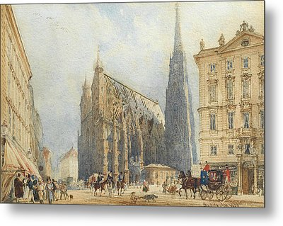 Stephansplatz In Vienna With The Cathedral Metal Print by Rudolf von Alt