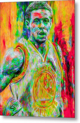 Stephen Curry Golden State Warriors Digital Painting Metal Print