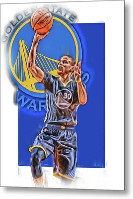 Stephen Curry Golden State Warriors Oil Art 2 Metal Print