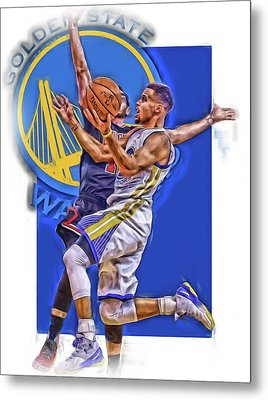 Stephen Curry Golden State Warriors Oil Art Metal Print