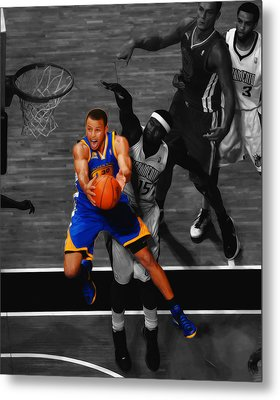 Stephen Curry In Flight Metal Print